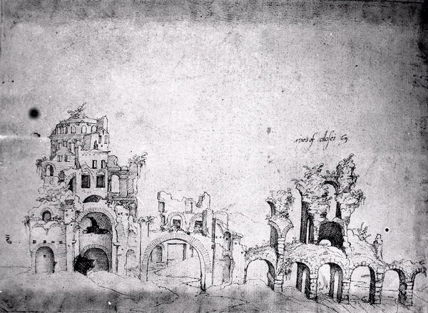 [Baths of Diocletian (Rome, Italy), photographic reproduction of sketches by Baldassarre Peruzzi?]