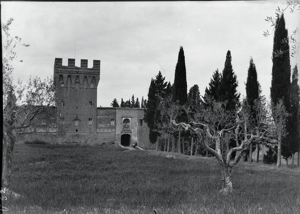 [Abbey of Monteoliveto Maggiore (Italy), entrance with square tower]