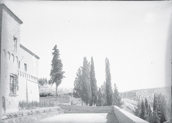 [Abbey of Monteoliveto Maggiore (Italy), terrace near entrance with square tower]