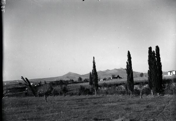 [Tivoli Region (Italy), open space with cypresses and Montecelio in background]