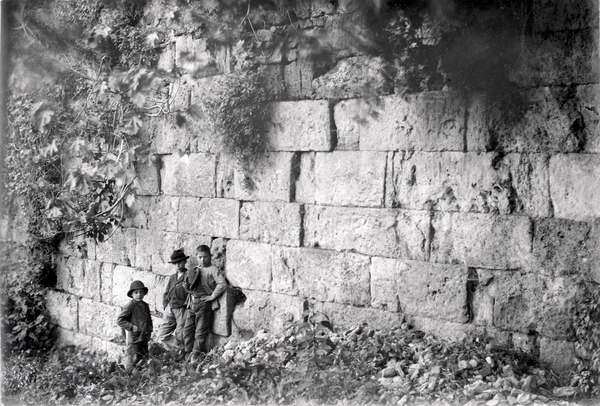[Anagni (Italy), portion of city wall with group of children]
