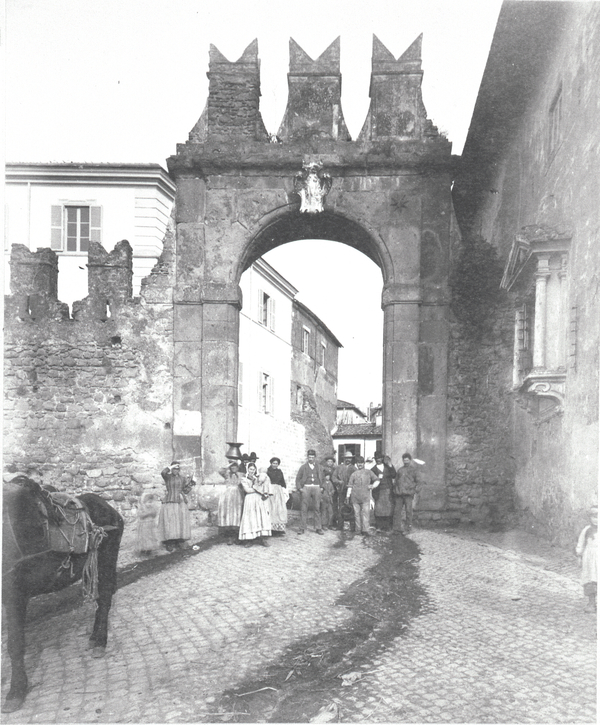 [Ariccia (Italy), Porta Romana with group of people]